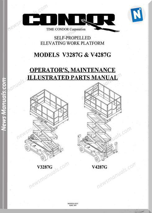 Condor Scissors Lift V3287g V4287g 92355 Parts Book