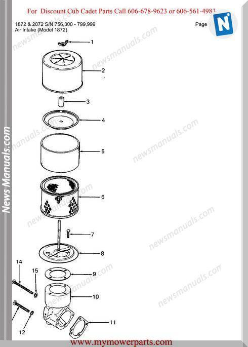 Cub Cadet 1872 And 2072 Sn 756300 799999 Parts Manual