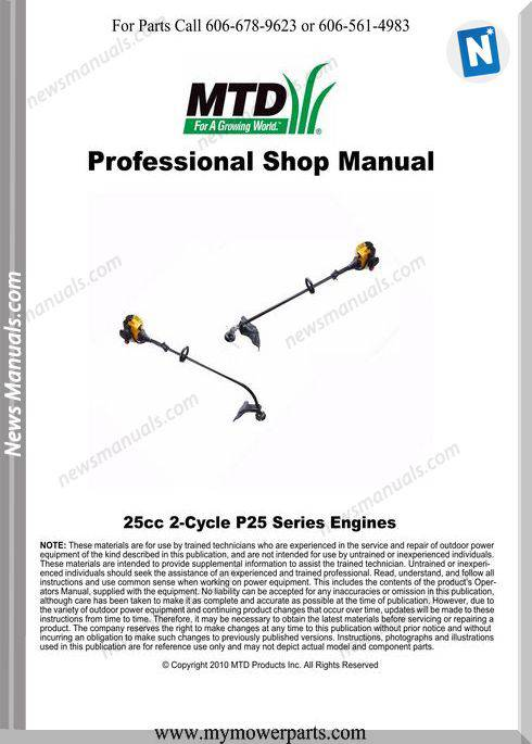 Cub Cadet 2 Cycle Trimmer P25 Engine Troy Bilt Ryobi Repair Manual