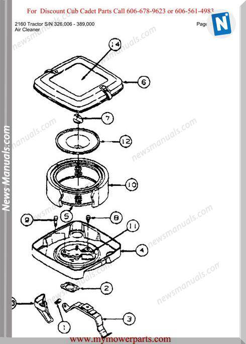 Cub Cadet 2160 Tractor Sn 326006 389000 Parts Manual
