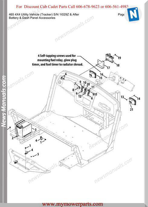 Cub Cadet Parts Manual 465 4X4 Tracker Sn1I029Z-After