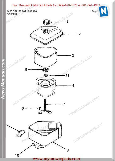 Cub Cadet Parts Manual For Model 1405 Sn 170601 207400