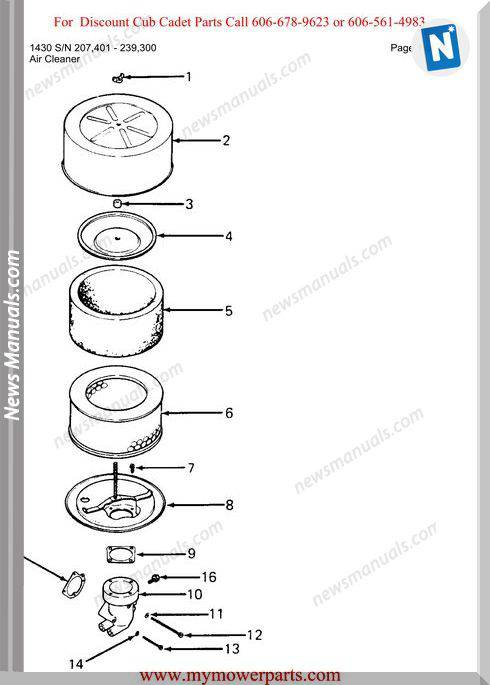 Cub Cadet Parts Manual For Model 1430 Sn 207401 239300