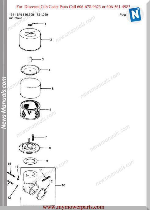Cub Cadet Parts Manual For Model 1541 Sn 816509 821059