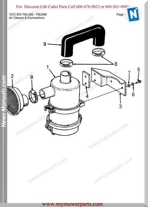 Cub Cadet Parts Manual For Model 1572 Sn 756300 799999