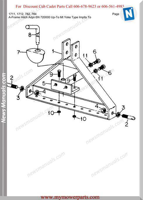 Cub Cadet Parts Manual For Model 1711 1712 782 784