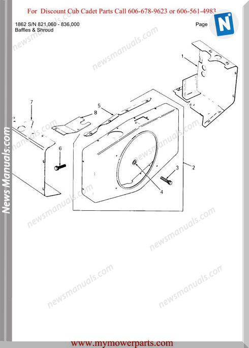 Cub Cadet Parts Manual For Model 1862 Sn 821060 836000