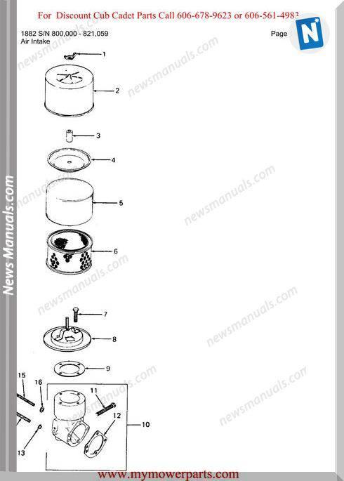 Cub Cadet Parts Manual For Model 1882 Sn 800000 821059