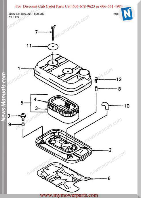 Cub Cadet Parts Manual For Model 2086 Sn 880001 899000