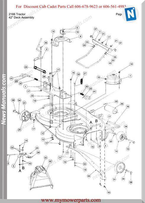 Cub Cadet Parts Manual For Model 2166 Tractor