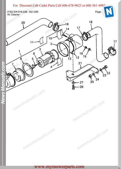 Cub Cadet Parts Manual For Model 2182 Sn 816536 821059