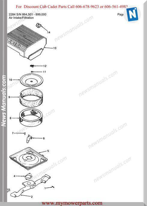 Cub Cadet Parts Manual For Model 2284 Sn 864501 899000