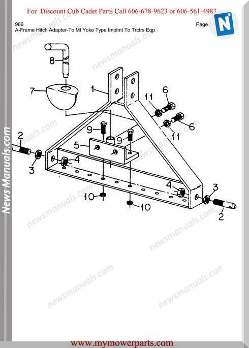 Cub Cadet Parts Manual For Model 986