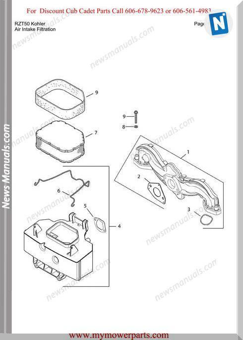 cub cadet rzt 50 parts diagram