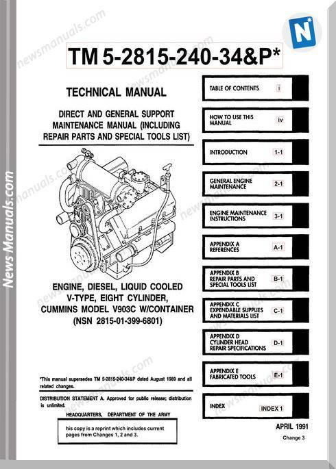 Cummins Engine Diesel Model V903C Service Manual