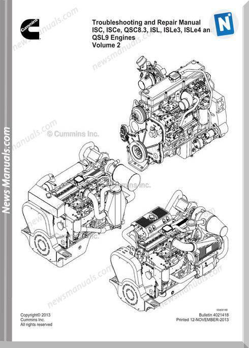 cummins isc qsc isl and qsl engine repair manual cd2