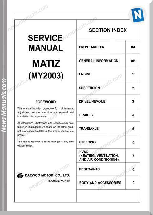 Daewoo Matiz 03 Sm F8C Sohc Engine 0 8L