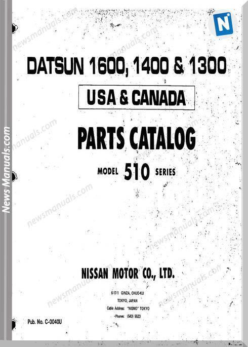 Datsun 1600 1300 Parts Catalog