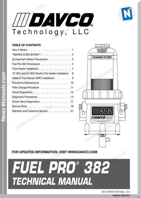 Davco Fuel Pro 382 Models Technical Manual