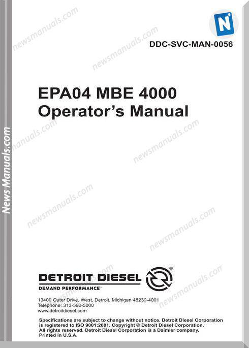 Detroit Mbe 4000 Engine Epa04 Man-0056 Operation Manual