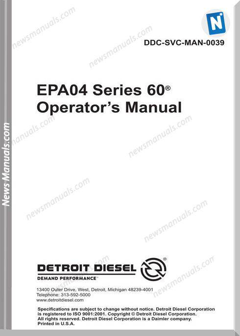 Detroit Series 60 Epa04 Operator S Manual Ddcsn