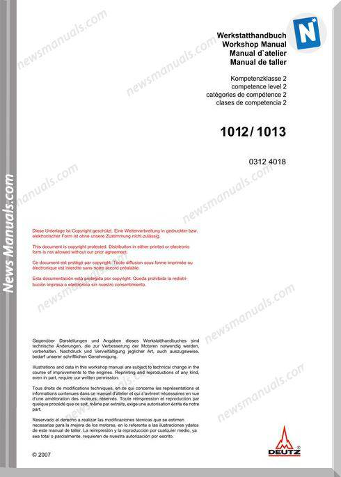Deutz 1012,1013 Workshop Manual