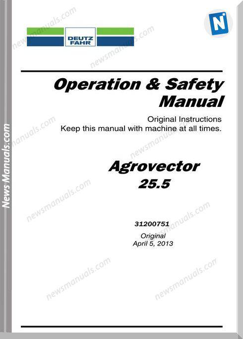 Deutz-Fahr 25.5 Operator Manual