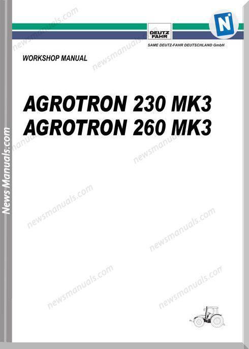 Deutz Fahr Agrotron 230 260 Workshop Manual