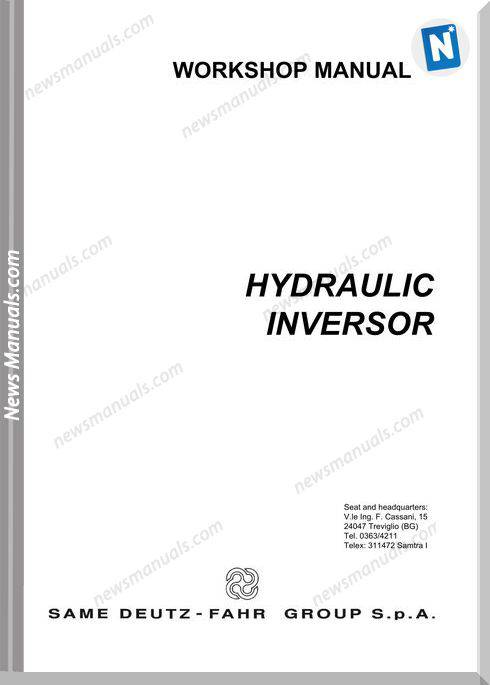Deutz Fahr Hydraulic Inversor 80 105 Workshop Manual