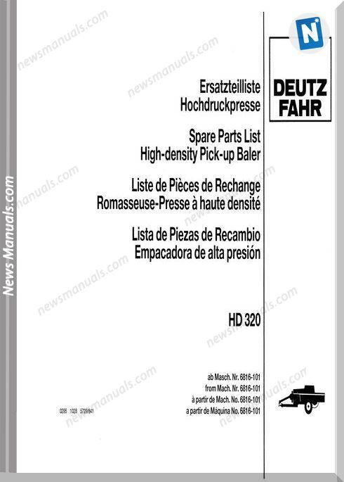Deutz Hd-320 Parts Manual German