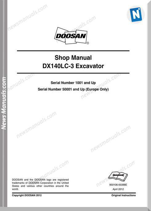 Doosan Crawled Excavators Dx140Lc 3 Shop Manual