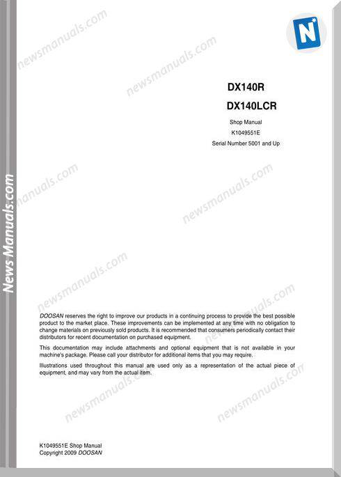 Doosan Crawled Excavators Dx140Lcr Shop Manual