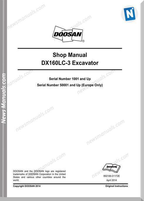Doosan Crawled Excavators Dx160Lc 3 Shop Manual
