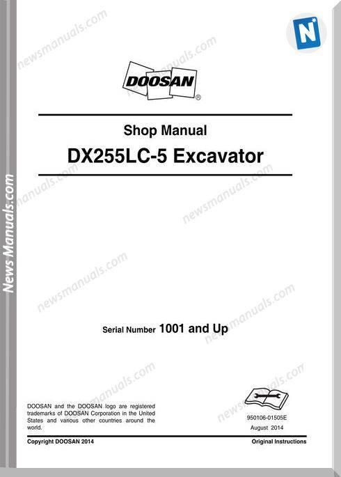 Doosan Crawled Excavators Dx255Lc 5, 1507 Shop Manual
