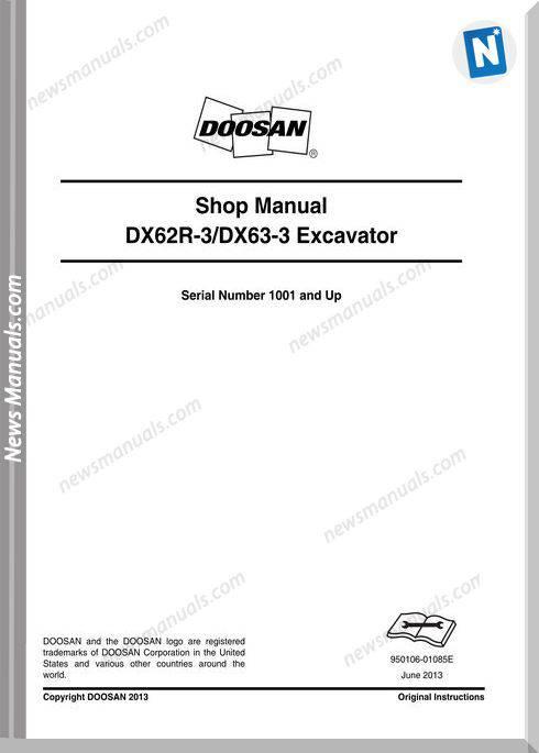 Doosan Crawled Excavators Dx62R 3 Shop Manual