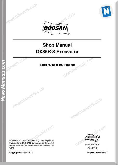 Doosan Crawled Excavators Dx85R 3 Shop Manual
