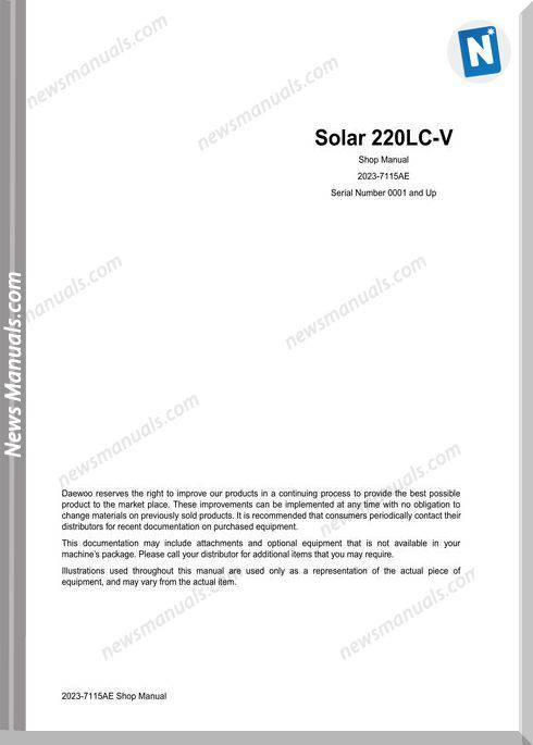 Doosan Crawled Excavators S220Lc V Shop Manual