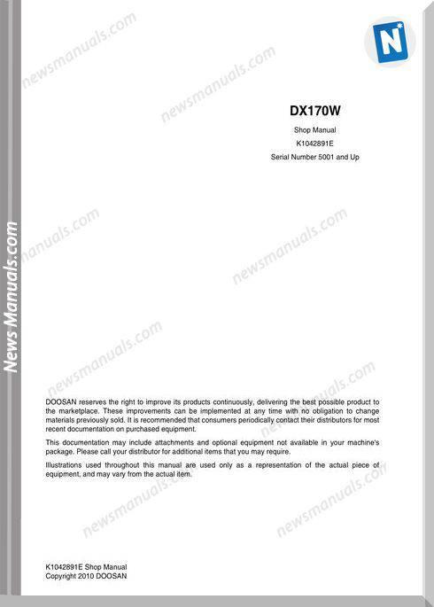 Doosan Crawler Excavator Dx170W Shop Manual (K1042891E)