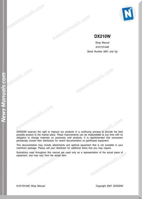 Doosan Crawler Excavator Dx210W K1017314Ae Shop Manual