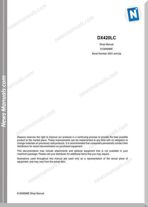 Doosan Crawler Excavator Dx420 K1009096E Shop Manual