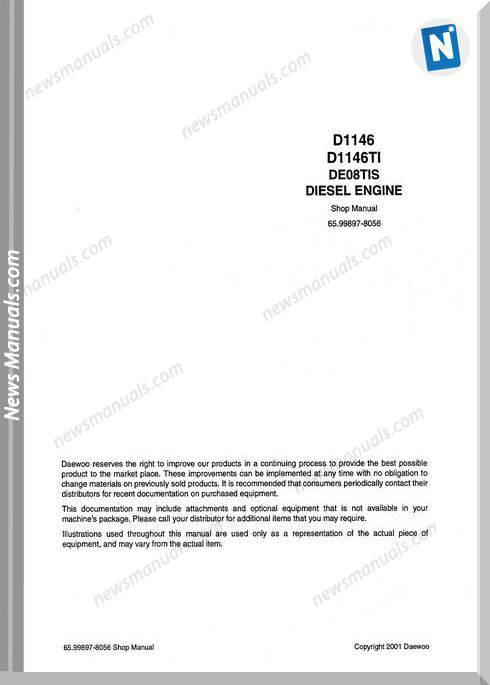 Doosan Daewoo Diesel Engine De08Tis Engine Shop Manual