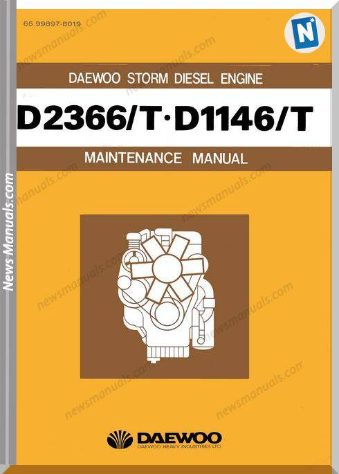 Doosan Daewoo Engine D2366 D1146 65 Maintenance Manual