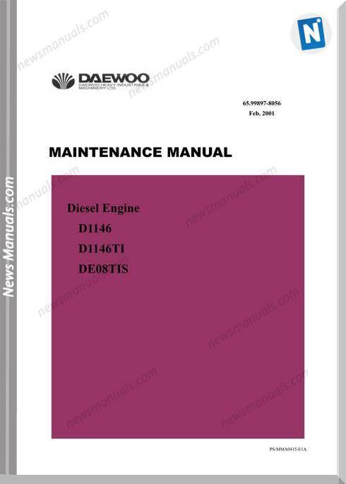 Doosan Daewoo Engine De08Tis D1146-Ti Maintenance Manual