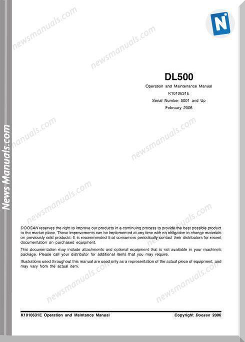Doosan Dl500 Operation And Maintenance Manual