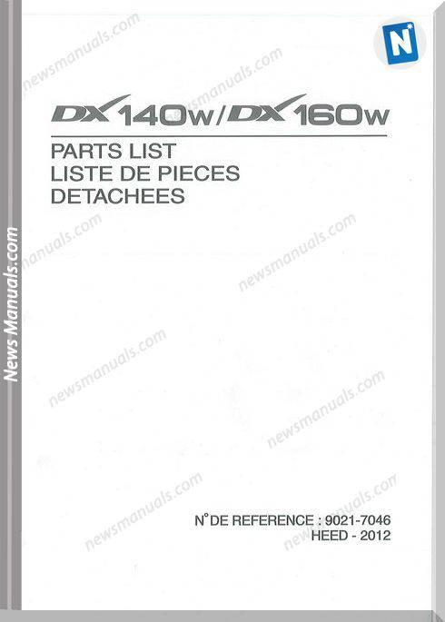 Doosan Dx140W Dx160W Excavator Parts Manual