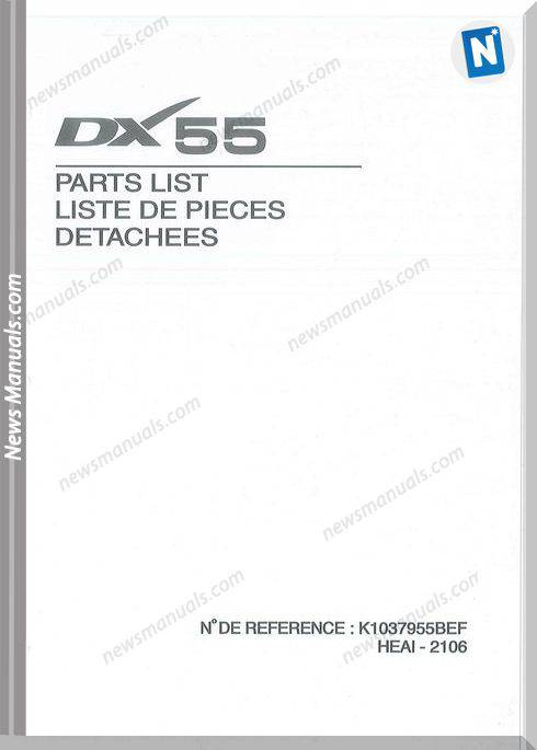 Doosan Dx55 Mini Excavator Parts Manual