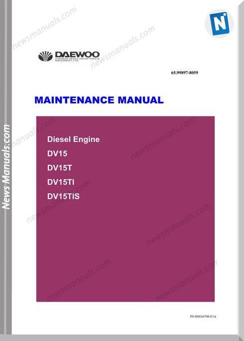 Doosan Engine Dv15 Tier-Ii Maintenance Manual