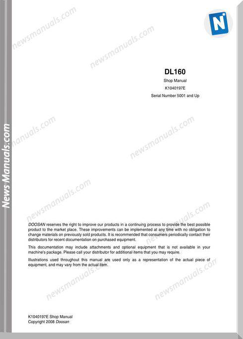 Doosan Wheel Loader Dl160 Shop Manual (K1040197E)