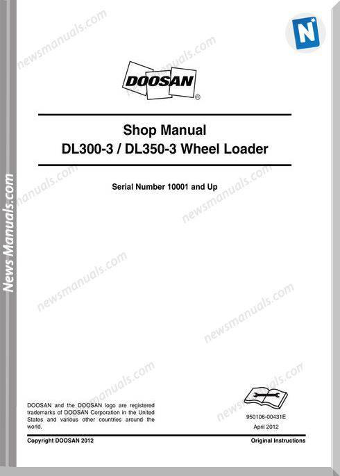 Doosan Wheel Loaders Dl300-3 Shop Manual