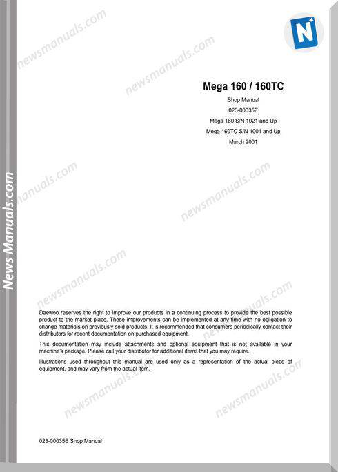 Doosan Wheel Loaders M160 160Tc Shop Manual